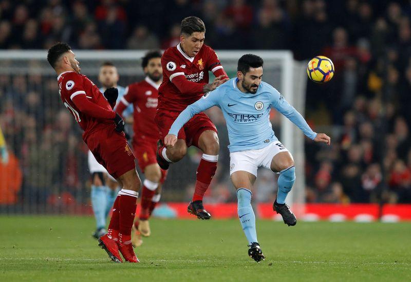 Roberto Firmino menyumbang satu gol kemenangan Liverpool atas Manchester City di Anfield. Dirinya tampil impresif dan menyulitkan barisan belakang Manchester City (Carl Recine/Action Images via Reuters)