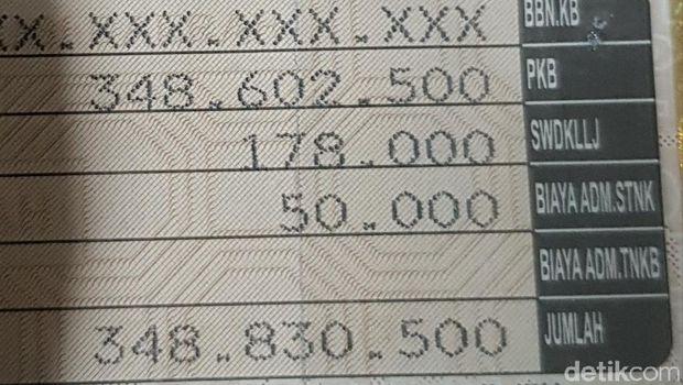 Foto bukti pembayaran pajak di STNK mobil Mercedes-Benz B 23 ALX.