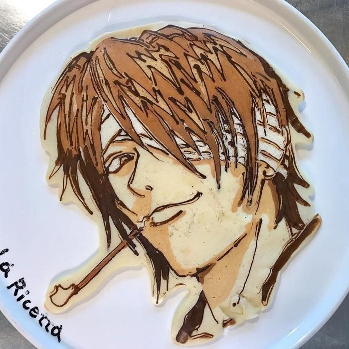 Seorang chef asal Jepang bernama Keisuke Otaku, tidak berbentuk bulat. Dirinya justru membuat pancake dengan bentuk-bentuk unik. Salah satunya adalah Gintama Takasugi Shinsuke. Foto: Keisuke Otaku