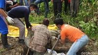 Hasil autopsi menyatakan 17 peluru bersarang di bangkai orangutan berjenis kelamin jantan itu, tulang rusuknya patah, dan luka leher akibat ditebas. Bangkainya pun ditemukan sudah membusuk. (Foto: dok. COP)