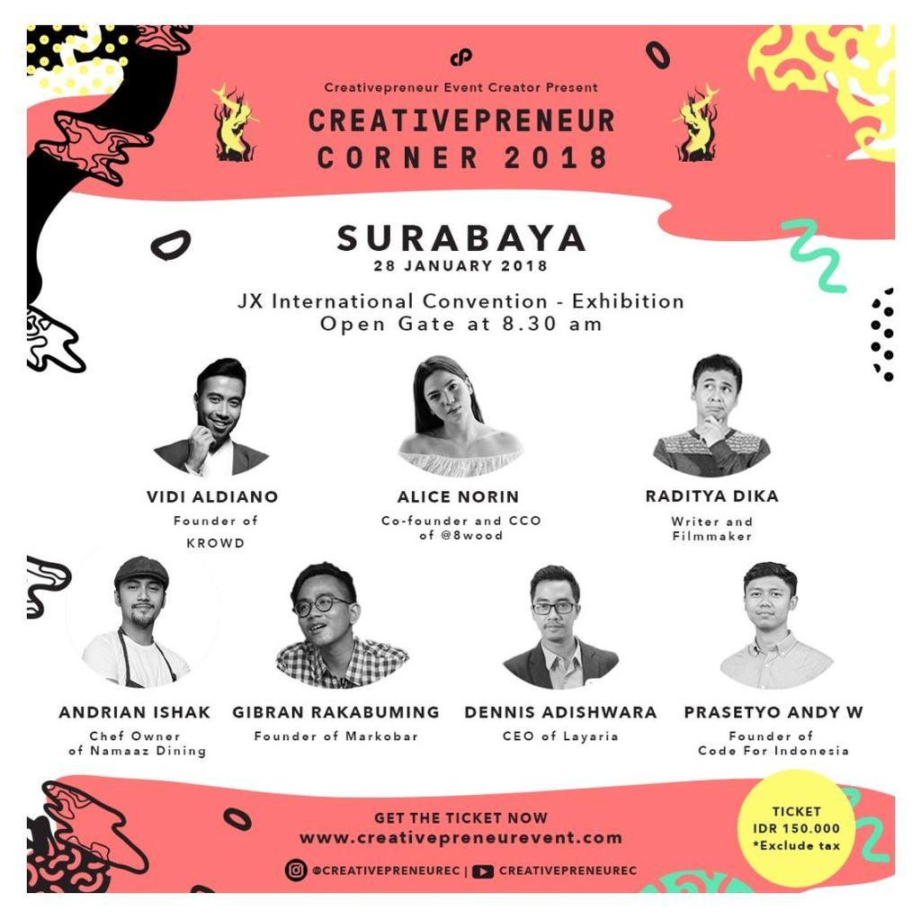 Creativepreneur Corner 2018 untuk sesi Surabaya akan digelar hari ini, Minggu (28/1/2018) Foto:Creativepreneur Corner