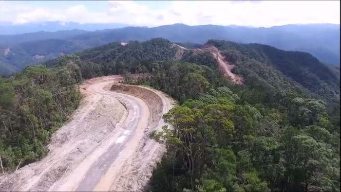 Hutan di Papua Barat dibuka untuk membangun jalan Trans Papua segmen I ruas Sorong-Manokwari 594 km. Foto: Pool/BP Jalan Nasional XVII Papua Barat.