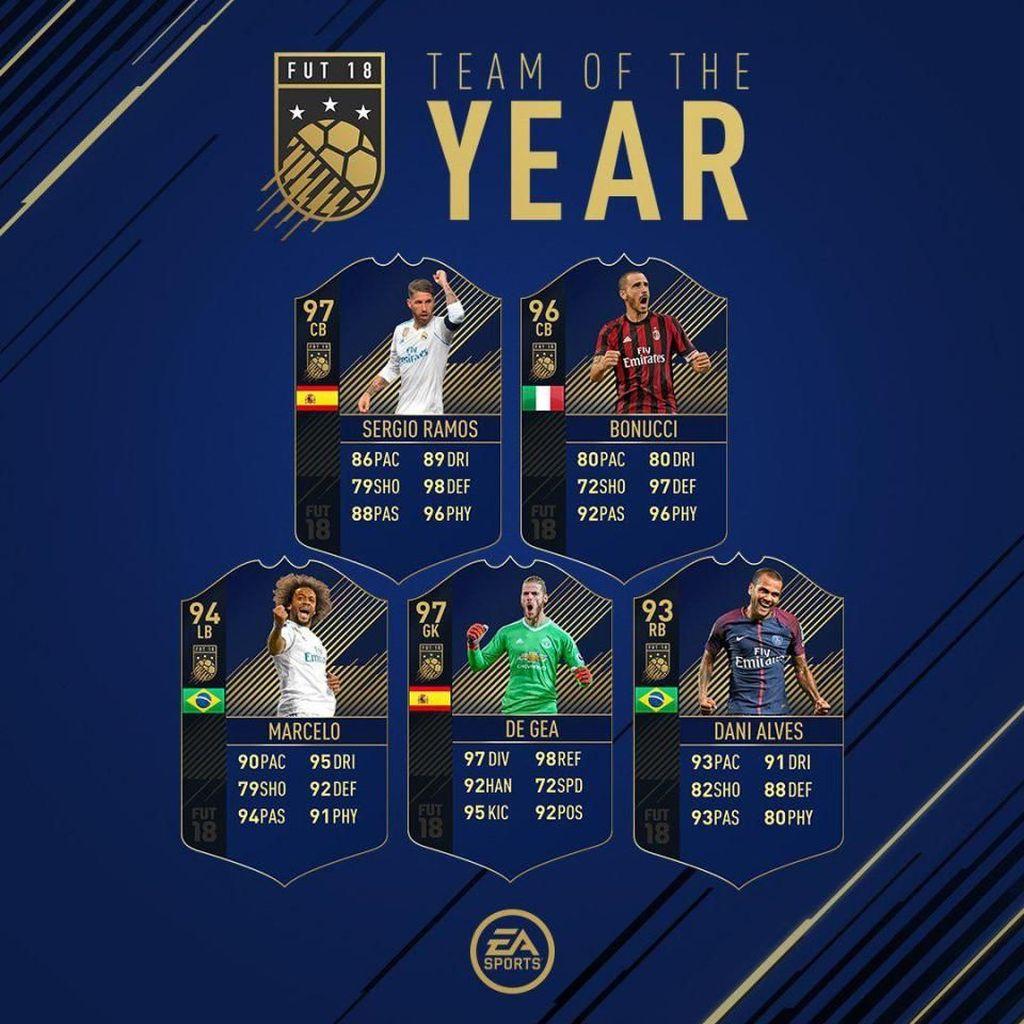 Sebelas pemain dalam tim terbaik untuk game FIFA 18 ini dipilih dari total 55 nama pemain yang masuk sebagai nominasi terbaik setahun terakhir. Foto: EA Sports