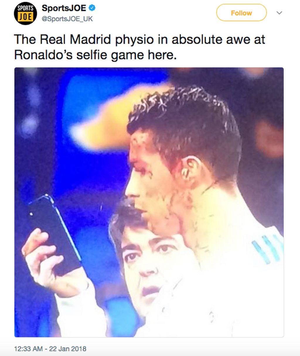 Digambarkan dalam meme ini staff Madrid terpukau Ronaldo mengambil selfie. Foto: istimewa