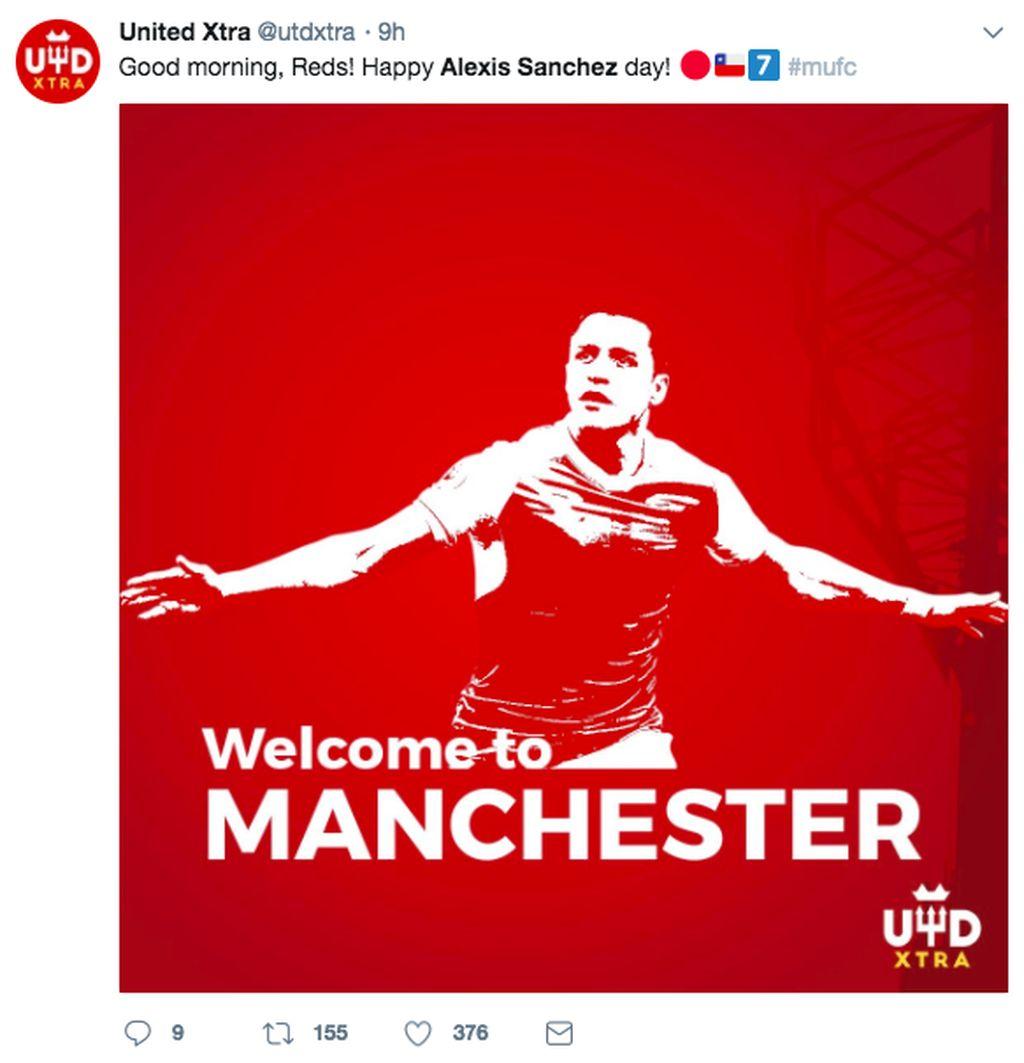 Manchester United menuntaskan proses transfer Alexis Sanchez dari Arsenal pada Senin (22/1/2018). Foto: Ist/Internet