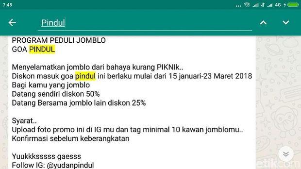 Hati-hati, Beredar Hoax Diskon Khusus Jomblo di Gua Pindul