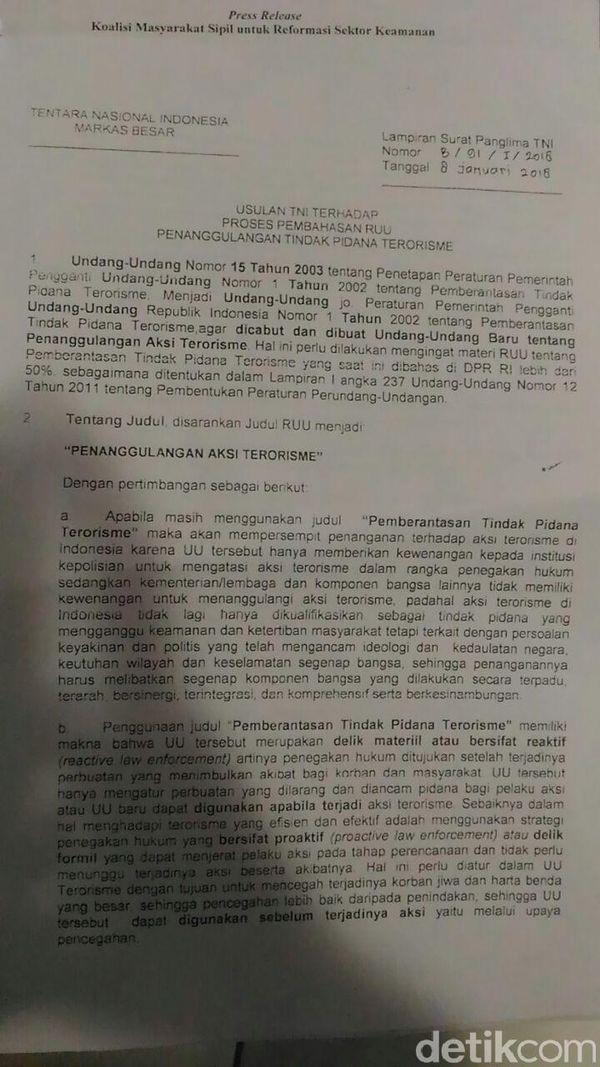 Surat Panglima ke DPR: Ganti Nama RUU Terorisme hingga soal Peran TNI