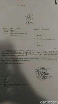 Pansus DPR akan Bahas Surat Panglima Soal Peran Tangani Terorisme