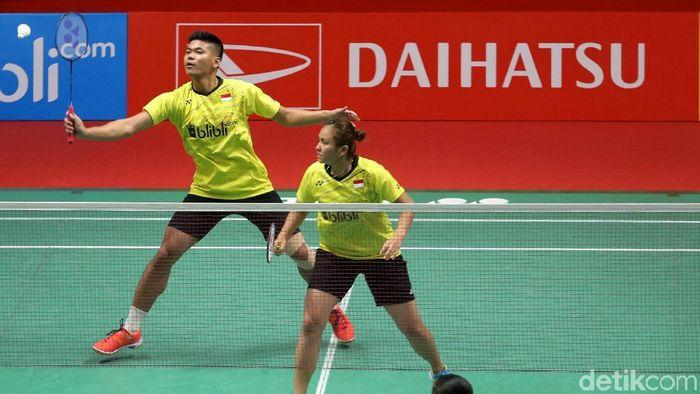 Praveen Jordan/Melati Daeva Oktavianti jalani latihan ekstra berat di pelatnas Cipayung. (Agung Pambudhy/detikSport)