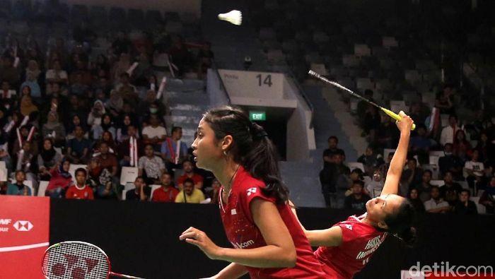 Della Destiara Haris/Rizki Amelia Pradipta lolos semifinal Kejuaraan Bulutangkis Asia 2019.  (Agung Pambudhy/detikSport)