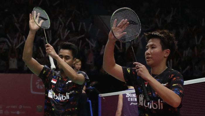 Tontowi Ahmad/Liliyana Natsir usai memastikan tiket semifinal Indonesia Masters 2018 (Foto: dok: Tim Humas dan Media PP PBSI)