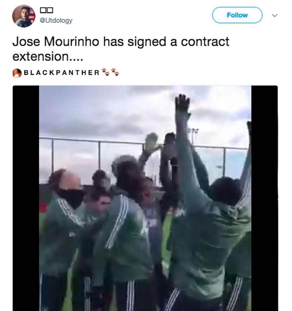 Tampaknya fans netizen menyambut gembira kontrak baru Mourinho. Di sini digambarkan pemain MU senang mendengar kabar Mou akan melatih sampai 2020. Foto: istimewa