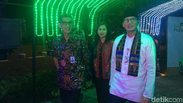 Sandi saat peresmian Taman Lampu (Indra Komara/detikcom)