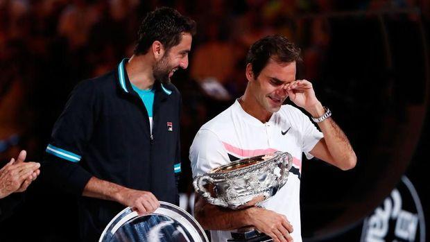 Air Mata Federer di Rod Laver Arena
