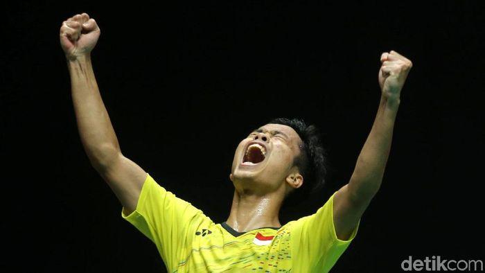 Anthony Ginting saat juara Indonesia Masters 2018 (Agung Pambudhy/detikSport)