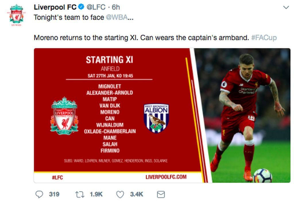 Liverpool menurunkan starting line-up terbaiknya untuk melawan West Bromwich Albion yang saat ini ada di zona degradasi. Foto: Twitter