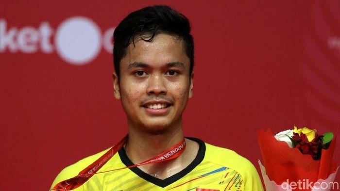 Anthony Ginting saat menjuarai nomor tunggal putra Indonesia Masters 2018 (Foto: Agung Pambudhy)