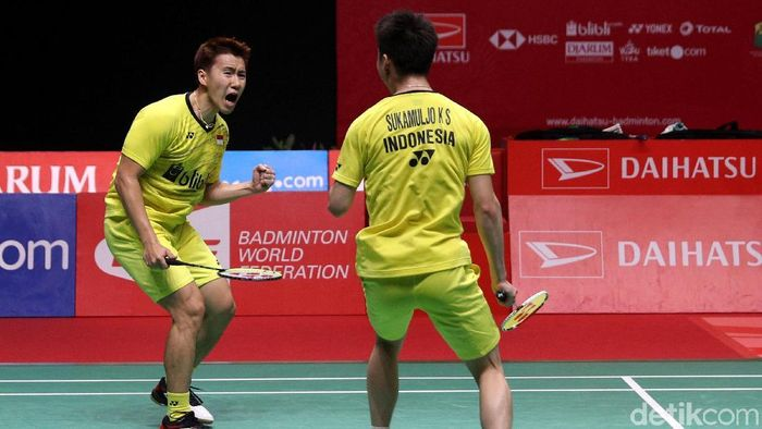 Kevin Sanjaya Sukamuljo/Marcus Fernaldi Gideon diharapkan mampu mermpertahankan gelar All Englan. (Agung Pambudhy/detikSport)
