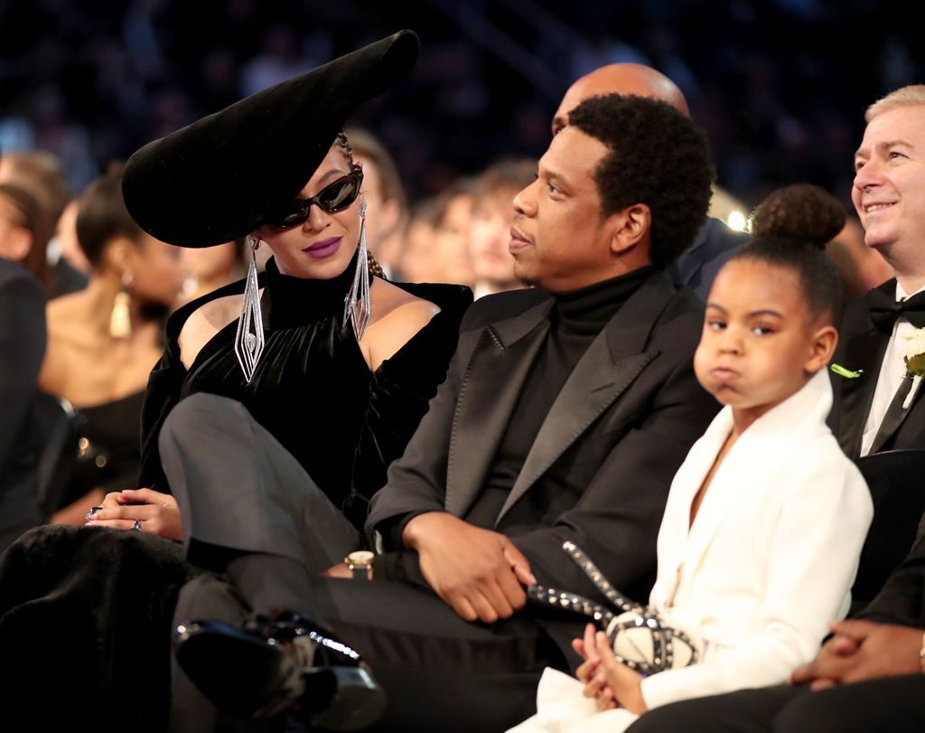 NEW YORK, NY - JANUARY 28:  (L-R) Jay-Z, Blue Ivy and Beyonce attend the 60th Annual GRAMMY Awards at Madison Square Garden on January 28, 2018 in New York City.  (Photo by Christopher Polk/Getty Images for NARAS)