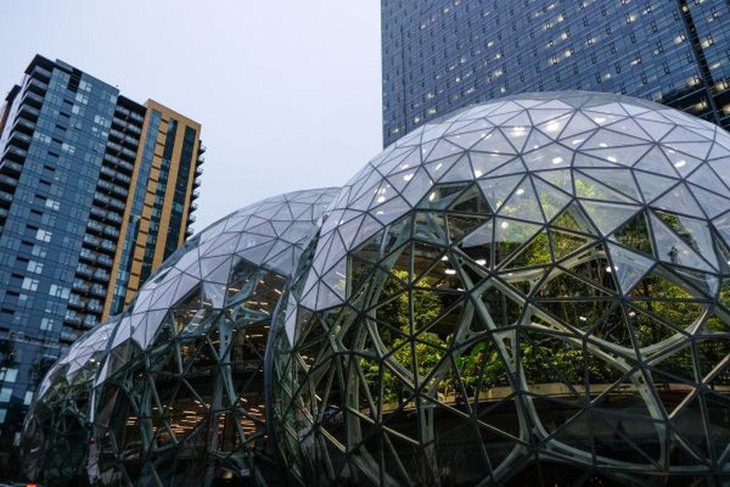 Spheres demikian nama untuk kantor baru Amazonyangterletak di Seattle, Amerika Serikat. Memiliki desain yang unik dengan bentuk bola raksasayang dilapisikaca transparan. (Foto: Dok. techrunch/Devin Coldewey)