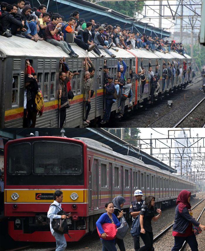 Kondisi penumpang KRL dulu (atas) dan KRL sekarang (bawah). Romeo Cagad/AFP/Adhi Wicaksono/CNN Indonesia.