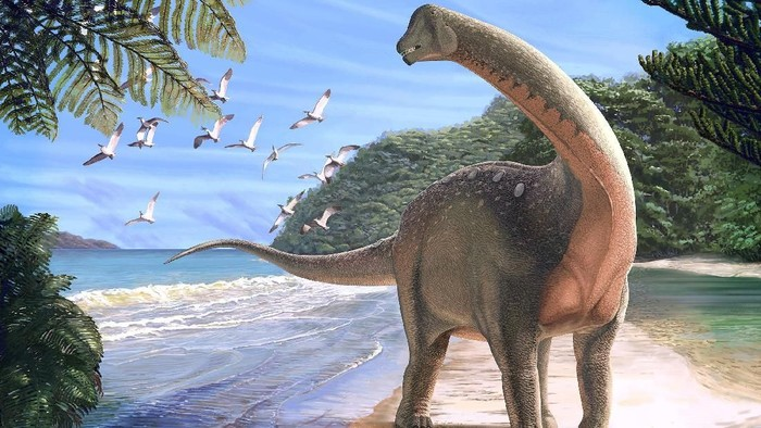Artists life reconstruction of the titanosaurian dinosaur Mansourasaurus shahinae on a coastline in what is now the Western Desert of Egypt approximately 80 million years ago is pictured in this undated handout image obtained by Reuters on January 29, 2018.   Andrew McAfee/Carnegie Museum of Natural History/Handout via REUTERS  ATTENTION EDITORS - THIS IMAGE WAS PROVIDED BY A THIRD PARTY.  NO RESALES. NO ARCHIVE. NO SALES     TPX IMAGES OF THE DAY