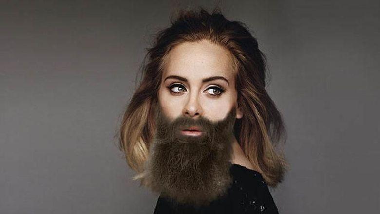 Penampilan Adele dengan kumis dan jenggot tebal. (Dok. Bored Panda)