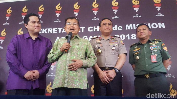Wapres RI Jusuf Kalla menargetkan 16 medali emas untuk Indonesia di Asian Games 2018. (Zunita Amalia Putri/detikSport)