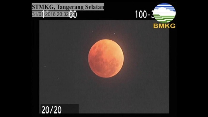 Puncak gerhana bulan total (Dok. BMKG)