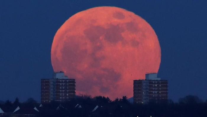 Fenomena Super Blue Blood Moon yang terjadi di London, Inggris, pada tahun lalu. Foto: Dok. REUTERS/Toby Melville