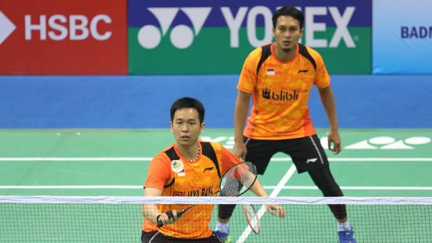 Mohammad Ahsan/Hendra Setiawan menyumbang poin kedua bagi Indonesia.