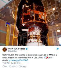 12 Tahun Hilang, Satelit NASA Ditemukan Seorang Amatiran