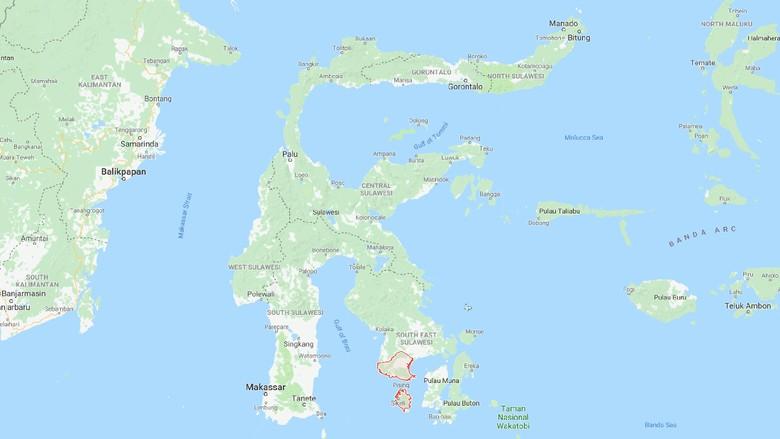 peta kabupaten bombana di sulawesi tenggara