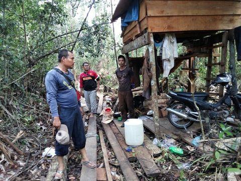 Petugas menemukan adanya gubuk yang dibangun di tengah hutan tersebut