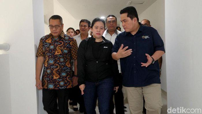 Menko PMK Puan Maharani meninjau Wisma Atlet Kemayoran (Grandyos Zafna/detikSport).
