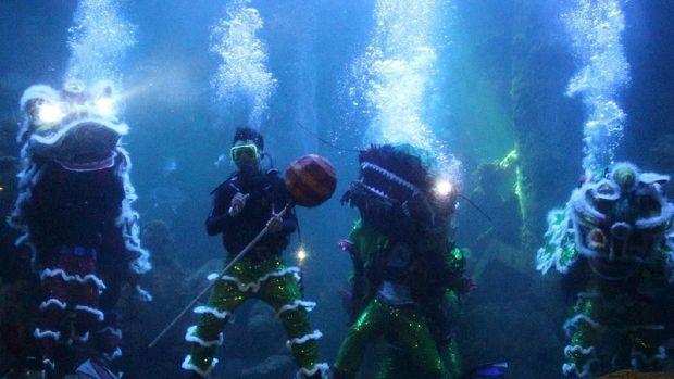 Barongsai dalam air untuk menyambut Imlek (Ancol)