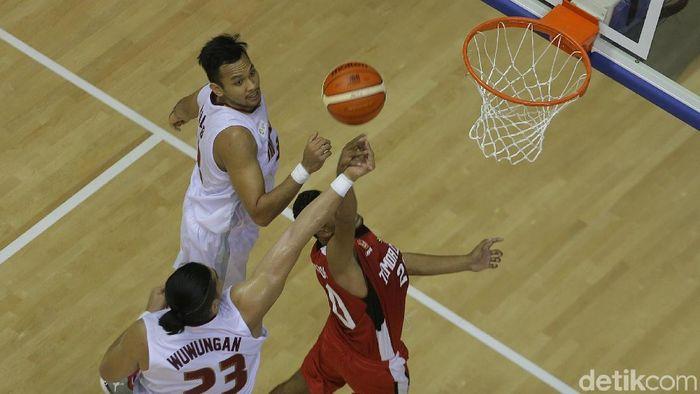 Tim Basket Indonesia saat melibas Timor Leste (Foto: Agung Pambudhy/detikSport)