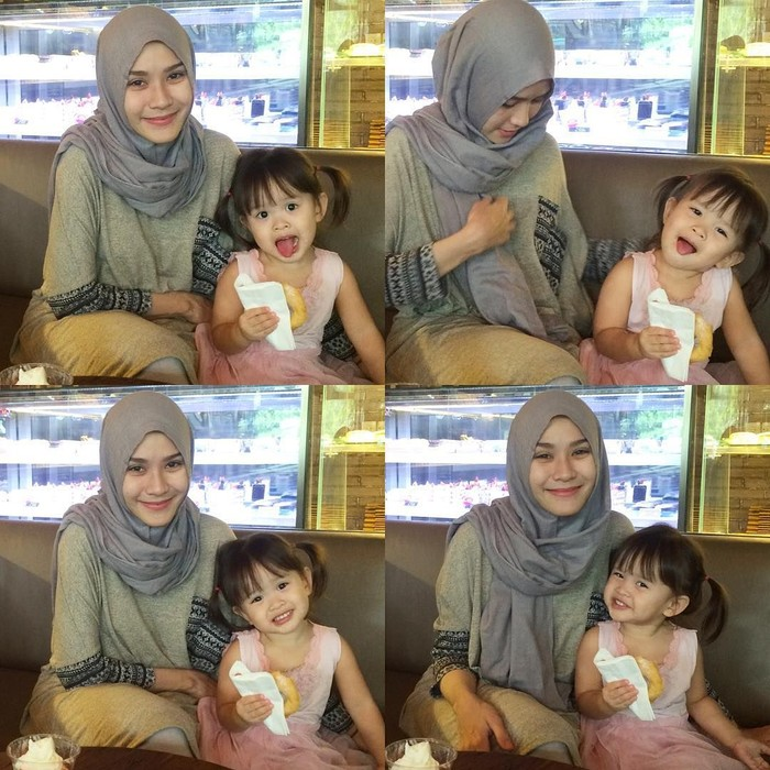 Ini saat Zaskia dan anak keduanya yang bernama Kala Madali Bramantyo. Makan donat aja bikin gemas, ya! Foto: Istimewa