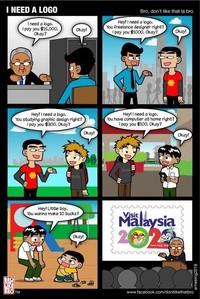 Foto: Netizen Malaysia pun mengkritik keras logo ini. Salah satunya lewat komik karya dontlikethatbro di Facebook. Dia menyindir logo pariwisata ini bukannya dibuar oleh desainer profesional, tapi malah dibikin oleh bocah SD dengan harga yang murah. (Facebook/dontlikethatbro)