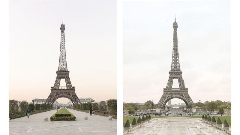 Seorang fotografer asal Prancis bernama Francois Prost melakukan perjalanan ke Tianducheng di China untuk memotret replika dari Menara Eiffel di Paris. Bisa bedakan mana yang asli dan imitasi? (Francois Prost/CNN)