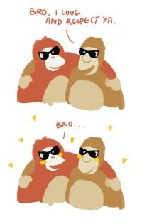 Foto: Bro? Salah kita apa ya bro dipakain kacamata kaya gini? Mungkin itu perasaan orangutan dan bekantan dalam logo Visit Malaysia 2020. (Twitter/@kechkay)