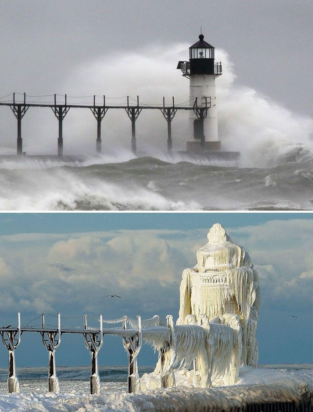 Mercusuar St. Josephterletak di Michigan, Amerika Serikattetap kokoh meski dihantam badai dan salju. (Foto: Boredpanda)