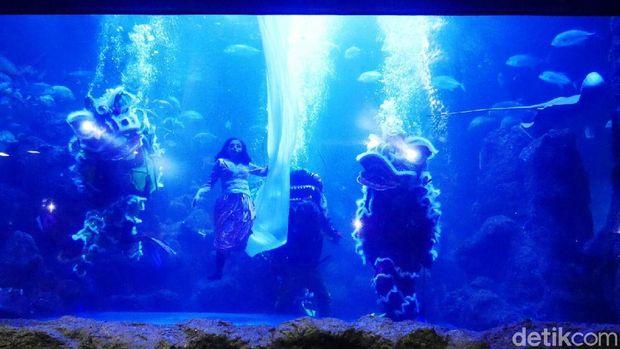 Salah satu adegan di Underwater Barongsai (Kurnia/detikTravel)