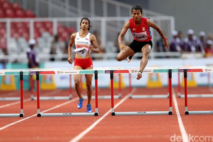 Alvin Tehupeiory dan Saritaben Laxmanbhai Gayakwad bertanding di Test Event Asian Games yang dihelat di Jakarta, Senin (12/2/2018).