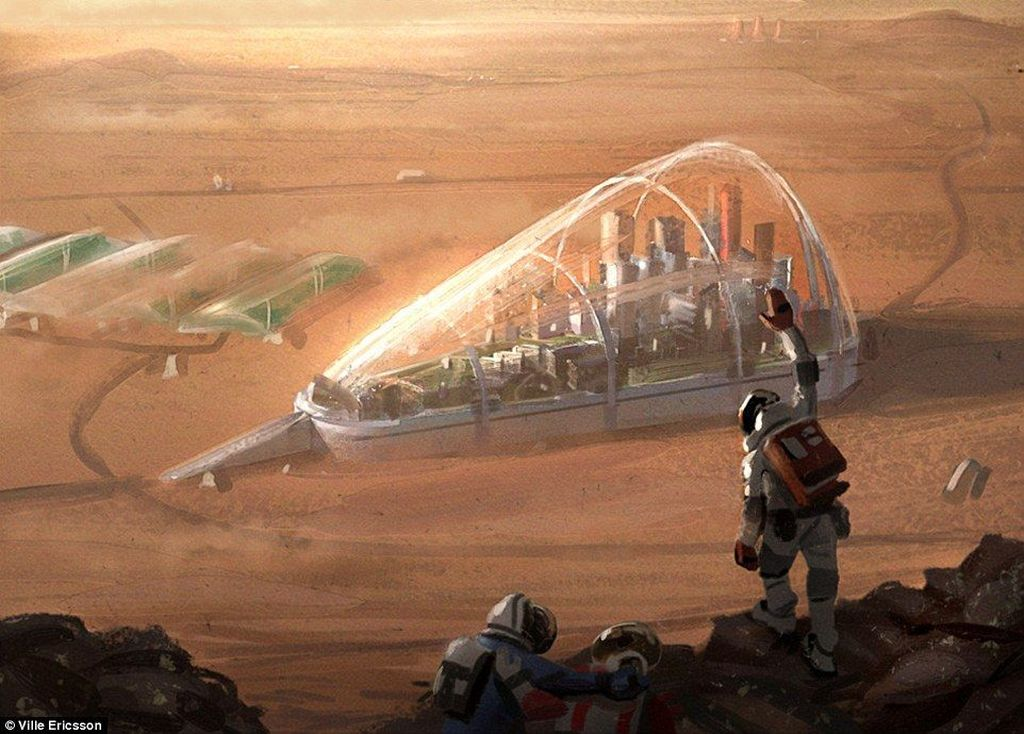 Seorang seniman asal Swedia, Ville Ericsson, membuat sederet gambar yang menggambarkan kolonisasi manusia ke Mars. Tampa perkotaan di sana ditutupi dengan semacam kubah agar aman dari lingkungan yang keras.(Foto: Dailymail)