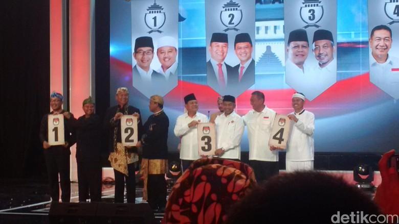 Nomor Urut Pilgub Jabar: Ridwan 1, Hasanuddin 2, Sudrajat 3, Deddy 4
