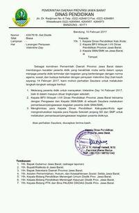 Surat edaran pelarangan valentine bagi pelajar di Bogor.