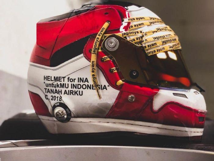 Helm Sean Gelael untuk kompetisi F2 2018 (dok.Sean Gelael)