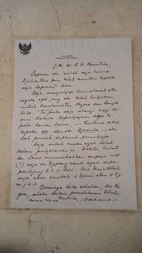 Sepucuk surat Presiden Sukarno untuk Jenderal AH Nasution.