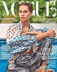 Vogue AS edisi Maret 2018 yang menampilkan aktris peraih Oscar Alicia Vikander di sampulnya.